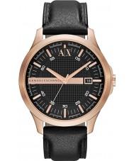 Armani Exchange AX2129 de los hombres se levantaron reloj vestido de la correa de cuero negro de oro