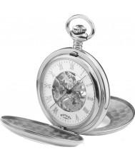 Rotary MP00712-01 Para hombre reloj de bolsillo de acero esqueleto mecánico
