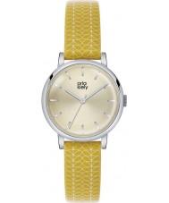 Orla Kiely OK2027 reloj de la correa de cuero amarillo de impresión del tallo de las señoras Patricia