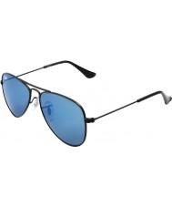 RayBan Junior Rj9506s 50 aviador negro mate 201-55 gafas de sol de espejo azules