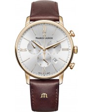Maurice Lacroix EL1098-PVP01-111-1 Mens Eliros reloj cronógrafo de cuero marrón