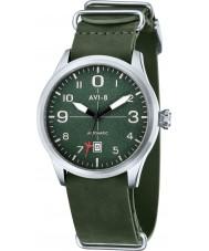 AVI-8 AV-4021-03 Mens aviador reloj correa de cuero verde oscuro automática