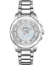 Bulova 96S144 reloj de pulsera de acero de plata damas diamante
