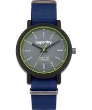 Superdry SYG197U Mens campus de reloj azul de la correa de silicona de la OTAN