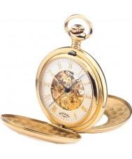 Rotary MP00713-01 Mens oro esqueleto mecánico plateado reloj de bolsillo