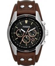 Fossil CH2891 Mens cochero negro reloj cronógrafo marrón