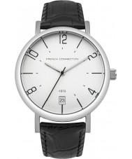 French Connection FC1268B Reloj para hombre de la correa de cuero negro
