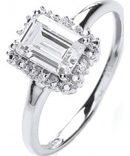 Purity 925 PNC2020-1 Las señoras anillo de racimo oblonga 925 de plata de ley
