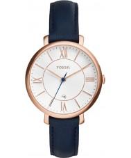 Fossil ES3843 Señoras del reloj de la correa de cuero azul Jacqueline