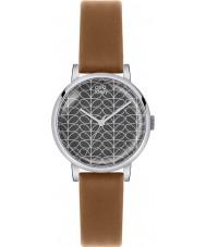 Orla Kiely OK2031 reloj de la correa de cuero marrón de impresión del tallo de las señoras Patricia