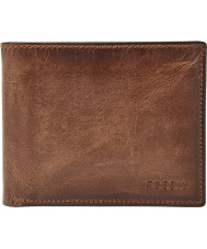 Fossil ML3771200 Mens derrick cuero marrón billetera Passcase