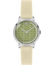 Orla Kiely OK2033 reloj de la correa de cuero color crema de impresión madre Patricia damas