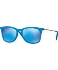 RayBan Junior Rj9063s 48 fluo azul transparente de caucho 701155 gafas de sol de espejo
