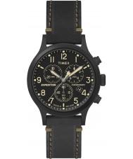 Timex TW4B09100 reloj de la correa de cuero negro para hombre de expedición