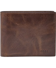 Fossil ML3687201 Mens derrick cartera de cuero marrón oscuro con gran bolsillo de la moneda