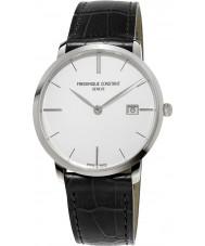 Frederique Constant FC-220S5S6 caballeros Slimline cuero negro reloj de la correa