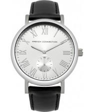 French Connection FC1259B Reloj para hombre de la correa de cuero acolchado negro