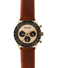 Zadig and Voltaire ZVM116 reloj cronógrafo de cuero marrón Maestro