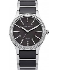 Karen Millen KM122BM Damas de acero y negro reloj de pulsera de cerámica