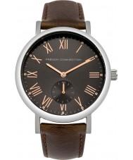 French Connection FC1259T Reloj para hombre marrón correa de cuero acolchado