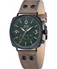 AVI-8 AV-4022-05 reloj cronógrafo de la correa de cuero beige para hombre del bombardero Lancaster