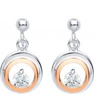 Purity 925 PUR3832ED Señoras de dos tonos rosa bañados en oro pendientes de la gota