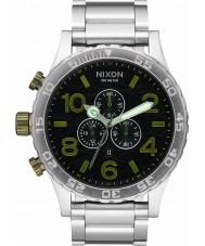 Nixon A083-2222 Para hombre reloj pulsera cronógrafo 51-30 de acero de plata