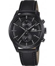 Lotus L18317-1 reloj cronógrafo de cuero negro para hombre del cronógrafo