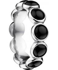 Bering Time Anillo de burbuja de cerámica negra para damas