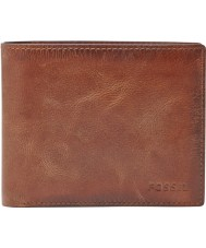 Fossil ML3687200 Mens derrick cartera de cuero marrón con bolsillo monedero grande