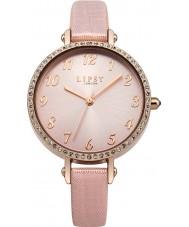 Lipsy LP400 reloj de la correa de cuero de la PU de las señoras de piedra de color rosa conjunto