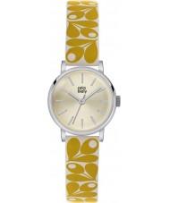 Orla Kiely OK2037 reloj de la correa de cuero color crema amarilla de las señoras Patricia bellota de impresión