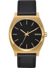 Nixon A045-2639 Mens tiempo cajero de cuero negro reloj de la correa
