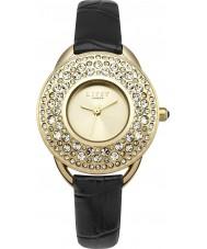 Lipsy LP448 reloj de la correa de cuero negro de las señoras