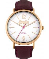 Superdry SYL194V Mens oxford de cuero púrpura reloj de la correa
