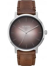 Nixon A1058-2594 Para hombre portero de cuero marrón reloj de la correa