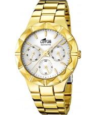 Lotus 15920-1 reloj de múltiples funciones de acero chapado en oro de las señoras