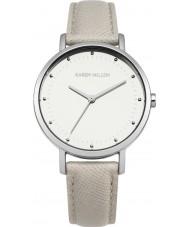 Karen Millen KM139C reloj de la correa de cuero gris damas