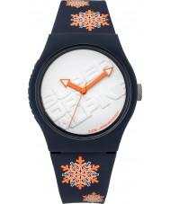 Superdry SYG165UY reloj azul oscuro escama urbano con fluoro naranja de copo de nieve de impresión