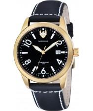 Swiss Eagle SE-9029-05 cadete de campo para hombre de cuero negro reloj de la correa
