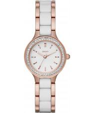 DKNY NY2496 cámaras de señoras enlaces de cerámica blanca reloj de oro rosa