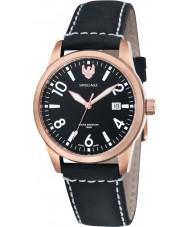 Swiss Eagle SE-9029-06 cadete de campo para hombre de cuero negro reloj de la correa