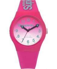 Superdry SYL198PN Damas láser urbana reloj correa de silicona de color rosa