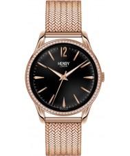 Henry London HL39-SM-0030 Damas Richmond negro reloj de oro rosa con los elementos