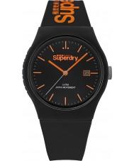 Superdry SYG168OB reloj de la correa de silicona negro urbano con la impresión de color naranja