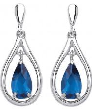 Purity 925 PUR3781ED Señoras de plata de ley 925 pendientes de gota con cristales azules