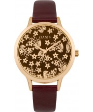 Oasis B1583 reloj de la correa de goma roja de las señoras