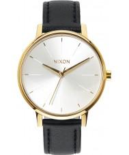 Nixon A108-1964 cuero de las señoras de Kensington oro blanco reloj negro