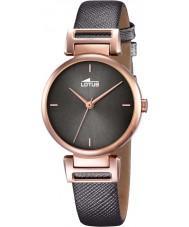 Lotus 18229-3 Las señoras de moda aumentaron reloj correa de cuero chapado en oro