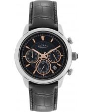 Rotary GS02876-04 relojes para hombre reloj cronógrafo negro monaco